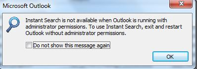 instant search is not available in outlook