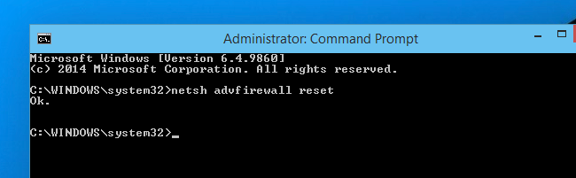 Reset the Windows Firewall Rules to Default